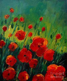 Poppies 4 Painting by Mona Edulesco