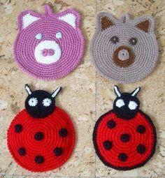 Image result for agarradores tejidas de frutas a crochet