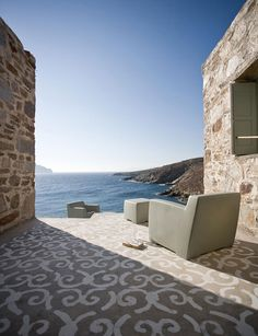WEEKEND ESCAPE: PAOLA NAVONE'S GREEK SUMMER HOME | THE STYLE FILES Painted Concrete Floors, Painting Concrete, Outdoor Rooms, Outdoor Living, Outdoor Lounge, Porches, Paola Navone, Painting Carpet, Turbulence Deco