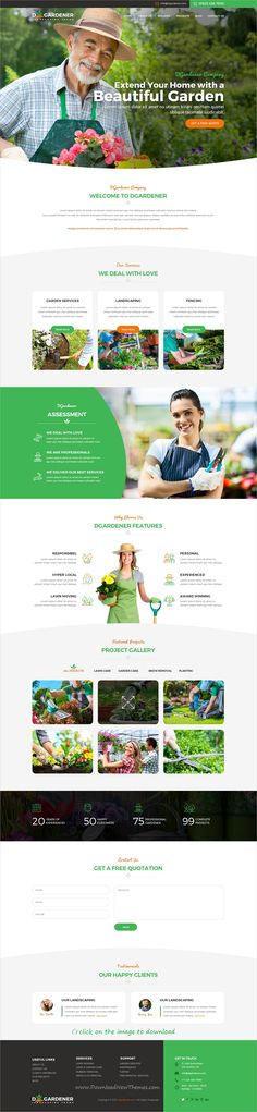 dGardener is clean and modern design PSD template for #gardening and #landscaping services website to download click on image.