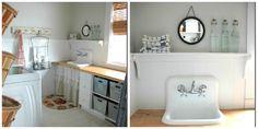 There are some fantastic ideas on remodeling your laundry room and making it cute instead of just plain and boring!