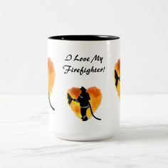 """""""I Love My Firefighter"""" Mug  firefighter workout, firefighter baby boy, firefighter flag #firefighters #firefighterinthemaking #futuredoctor Firefighter Humor, Firefighter Pictures, Firefighter Gifts, Firefighter Photography, 4th Of July Party, Retirement Gifts, Boyfriend Gifts, Craft Gifts, Gifts For Dad"""