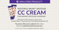 Enter between 8am - 8pm PST on Friday, September 18th for a chance to win one of 500 Youthful Wear™ Cosmeceutical Youth-Boosting Spotless CC Creams. http://contests.physiciansformula.com/?src=fbshare&v=18