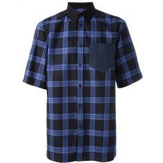 Givenchy plaid print boxy shirt Verso ❤ liked on Polyvore featuring tops, shirt top, boxy tops, plaid top, blue plaid shirt and tartan top