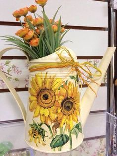 Decoupage Art, Decoupage Vintage, Feather Painting, Tole Painting, Milk Cans, Painted Pots, Mason Jar Crafts, Diy Arts And Crafts, Watering Can