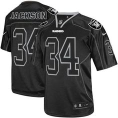 Nike Raiders  34 Bo Jackson Lights Out Black Men s Stitched NFL Elite Jersey  Browns Game 7b26a0d00
