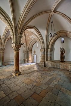 Hall of the Last Supper(Cenacle),Isreal. This room though from the Crusader Period,is built over a Byzantine Church. Some earlier remains dating to First Century are believed to be a Jewish Christian Synagogue occupying the site where Christian Tradition associated with the Last Supper.