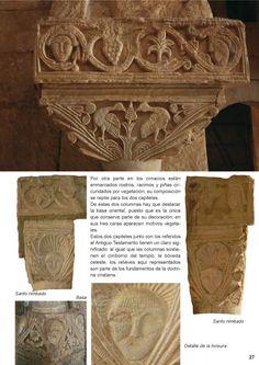 San Pedro de la Nave, Zamora. Arriba: capitel con árbol de la vida del que picotean árboles (Eucaristía)