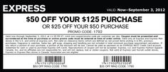 $25 off $50 at Express clothing, or online via checkout promo 1792 coupon via The Coupons App