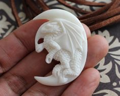 Dragon Pendant, Bone Carving Gift for Men Ideas - Chinese Zodiac Charm, Hand Carved - Animal, Mystical Creature High Quality Jewelry B140
