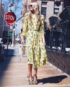 ShopStyle Look by JackieMiranne featuring H&M Patterned Dress - Yellow/floral - Women and Mango MANGO Striped linen dress Zara Dresses, Casual Dresses, Modest Fashion, Fashion Outfits, Fasion, Fashion Clothes, Moda Zara, Spring Fashion, Autumn Fashion