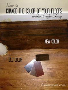 How to darken your wood floors without refinishing or replacing them – Flooring Old Wood Floors, Painted Wood Floors, Refinishing Hardwood Floors, Diy Flooring, Flooring Ideas, Cleaning Wood Floors, Painted Stairs, Hardwood Floor Colors, Hardwood Stairs