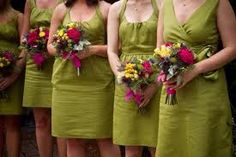Multicoloured bridesmaids bouquets.