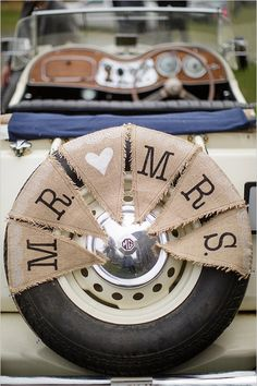 Getaway Car Ideas: Mr. and Mrs burlap bunting @weddingchicks