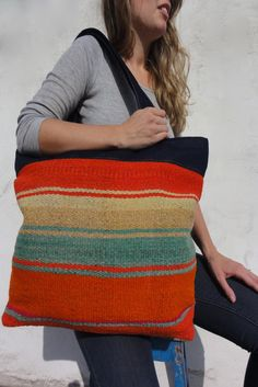 Amazing tote bag made from a vintage Peruvian frazada.
