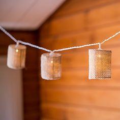 Reťaz Prírodných Jutových Lampičiek - LED svetlá