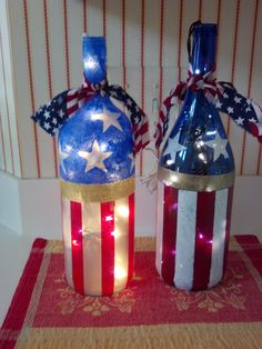 Stars & Stripes Lighted Wine Bottles by SharonsPaintedWoods Wine Bottle Glasses, Empty Wine Bottles, Wine Bottle Art, Painted Wine Bottles, Lighted Wine Bottles, Diy Bottle, Painted Wine Glasses, Bottle Lights, Decorated Bottles