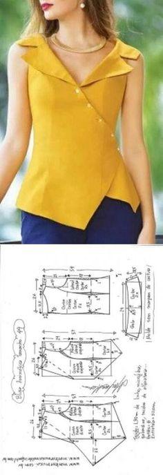 Blusa assimétrica com gola   DIY - molde, corte e costura - Marlene Mukai