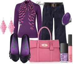 """""""Pink and Purple"""" by lori-347 on Polyvore"""
