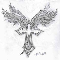 Cross and Wings Tattoos