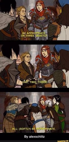 When has Hawke and the DA2 crew ever been appropriate? Never.