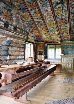 Scandinavian Cabin, Wood Path, Norwegian Style, Norwegian Rosemaling, Faux Painting, Sauna, Ceiling Design, Architecture, My Dream Home