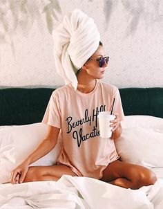 Relax Style, With a Hair Wrapped In a Towel.