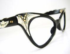 e8bf91bed3fd Cat Eye Glasses Horn Rim | Vintage 50s Black Horn Rim Cat eye Glasses  Eyeglasses Eyewear