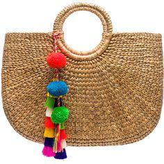 JADEtribe Round Basket Tote ($200) ❤ liked on Polyvore featuring bags, handbags, tote bags, handbag purse, man tote bag, woven straw tote, brown tote and handbag tote