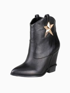 Wedge Black Boots With Metal Star
