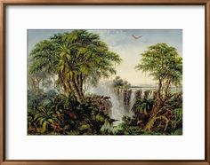 Victoria Falls with Stampeding Buffalo Giclee Print by Thomas Baines at Art.com