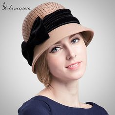 100% Wool From Australian Fedora Hat Formal Hat Mesh Bow Decoration Ladies Round Brim Basin Hat Wool Cap That`s just superb! #shop #beauty #Woman's fashion #Products #Hat