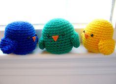 Bird Trio by Bitter-Sweet, hæklede små fugle