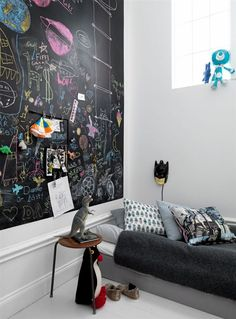 Chalkboard Wall in kids room//