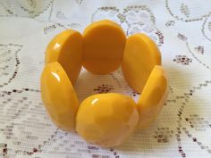 1960's plastic groovy chunky yellow stretchy by VINTAGEwithaSMILE