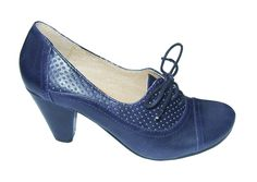 Retro Maytal Blue oxford pump