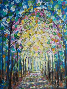 Large Abstract Landscape Pallette Knife Impasto Painting Trees