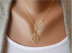 Feuille d'or collier lasso verdoyant charme délicat par InfinityJewelrys, $ 6,99