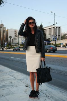 street style, Athens, Greece, black and white, leather, black leather, leather jacket, white pencil skirt, sneakers, sneakers outfit, sneakers and skirt, dark lips, minimal, chic, blogger, @thatgirlju