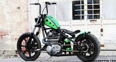 """Here is the latest by the TC Bros. The bike's name is """"Holey Roller"""" for obvious reasons. There are a shit-ton of speed holes drilled throughout the bike Xs650 Bobber, Sr500, Bobber Bikes, Yamaha Motorcycles, Bobber Motorcycle, Triumph Motorcycles, Motorcycle Touring, Girl Motorcycle, Motorcycle Quotes"""