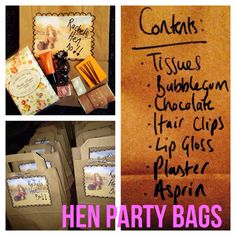 Hen do party bags Hen Do Party Bags, Wedding Countdown, Hens, Bubble Gum, Party Planning, Bridal Shower, Archive, Parties, Party Ideas