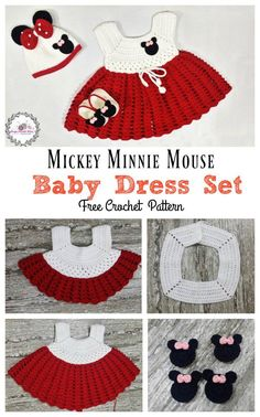 Crochet Baby Girl Mickey Minnie Mouse Baby Dress Set Free Crochet Pattern - This Mickey Minnie Mouse Baby Dress Set Free Crochet Pattern is perfect for Minnie m Mouse fans. Your beautiful baby girl will look so cute in this little outfit. Crochet Baby Blanket Beginner, Crochet Baby Dress Pattern, Baby Girl Crochet, Crochet Baby Clothes, Baby Knitting, Crochet Patterns, Crochet Dresses, Crochet Outfits, Crochet Ruffle
