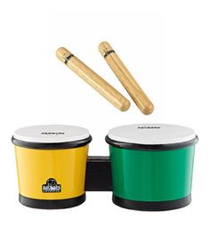 Get into the rhythm with this fun percussion set! With lightweight bongos and authentic claves, these high-quality pieces deliver a classic, worldly sound in a size that's suitable for children.