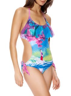 Colorful monokini from Disney with allover Mulan themed design. Halter & back ties.