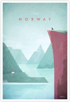 Vintage Travel Poster - Norway Vintage Travel Art (Kelli saved for shape and colors)