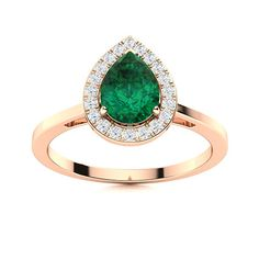 This delicate Emerald ring in 14k Rose Gold is designed with a lace of glistening diamonds around the pear cut gemstone. Enhance your sharp and stunning look with our matching Raelin earrings We only use Natural AAAA Emeralds which are the top 15% of all real / genuine Emeralds available. Natural Emerald Rings, Love Ring, Halo Rings, Emeralds, Halo Diamond, Vintage Rings, Ring Designs, Pear, Heart Ring