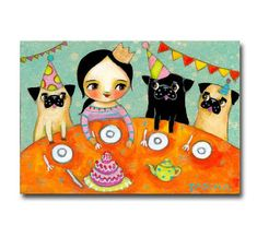 Pug Party Cute Fawn and Black Pug Dogs original painting by tascha