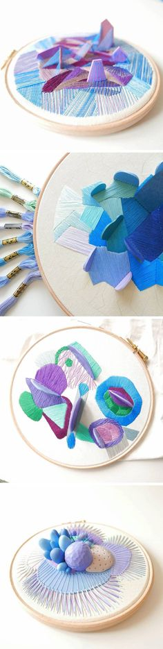 Architectural would be cool Three-Dimensional Hoop Embroidery Accented With Clay by Justyna Wołodkiewicz