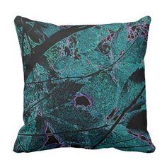 Teal Leaf Filigree Accent Pillow - home decor design art diy cyo custom