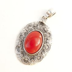 Turkish Tribal Brushed Silver Tone Oval Antique Style Pendant with Red Stone Gift Jewelry